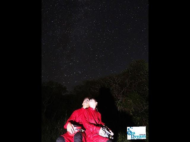 ケイビング後、満天の星空